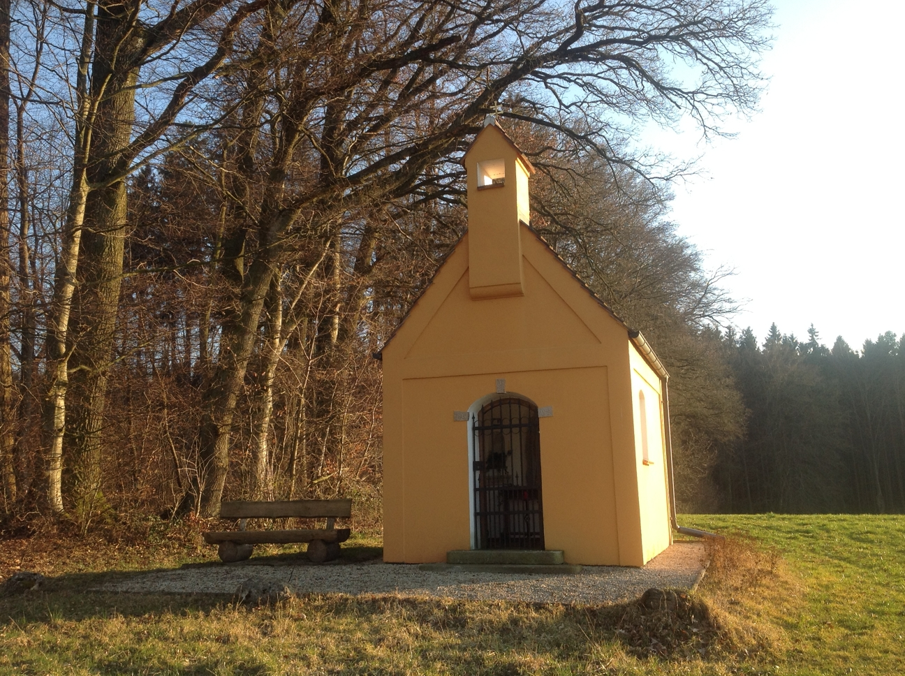 Closer look at the yellow chapel from indoor cycling video #001